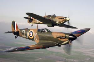 Spitfire P7350, flies alongside Hurricane LF363.